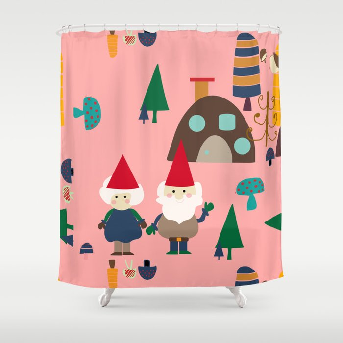 Gnome Pink Shower Curtain By Susycosta