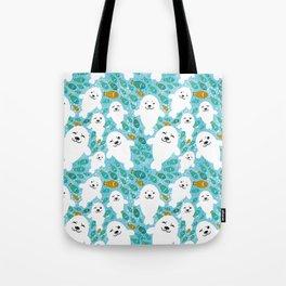 White cute fur seal and fish in water Tote Bag