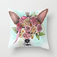 yorkie Throw Pillows featuring Yorkie by Carmen McCormick