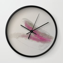watercolor dragonfly wings // pink and grey and beige Wall Clock
