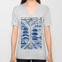 Old Delftware blue tiles Unisex V-Neck