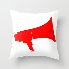 Red Isolated Megaphone Throw Pillow