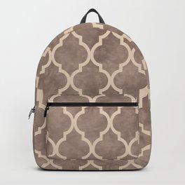 Classic Quatrefoil Lattice Pattern 914 Beige on Beige Backpack