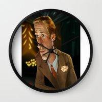 ryan gosling Wall Clocks featuring Ryan Gosling by Khasis Lieb