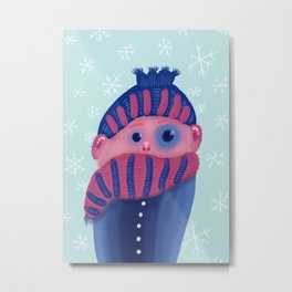 Freezing Kid In Winter Metal Print