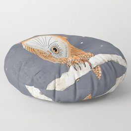 Winking Owl by the Light of the Moon Floor Pillow