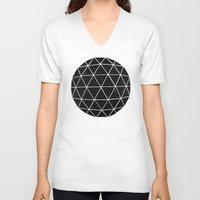circle V-neck T-shirts featuring Geodesic by Terry Fan