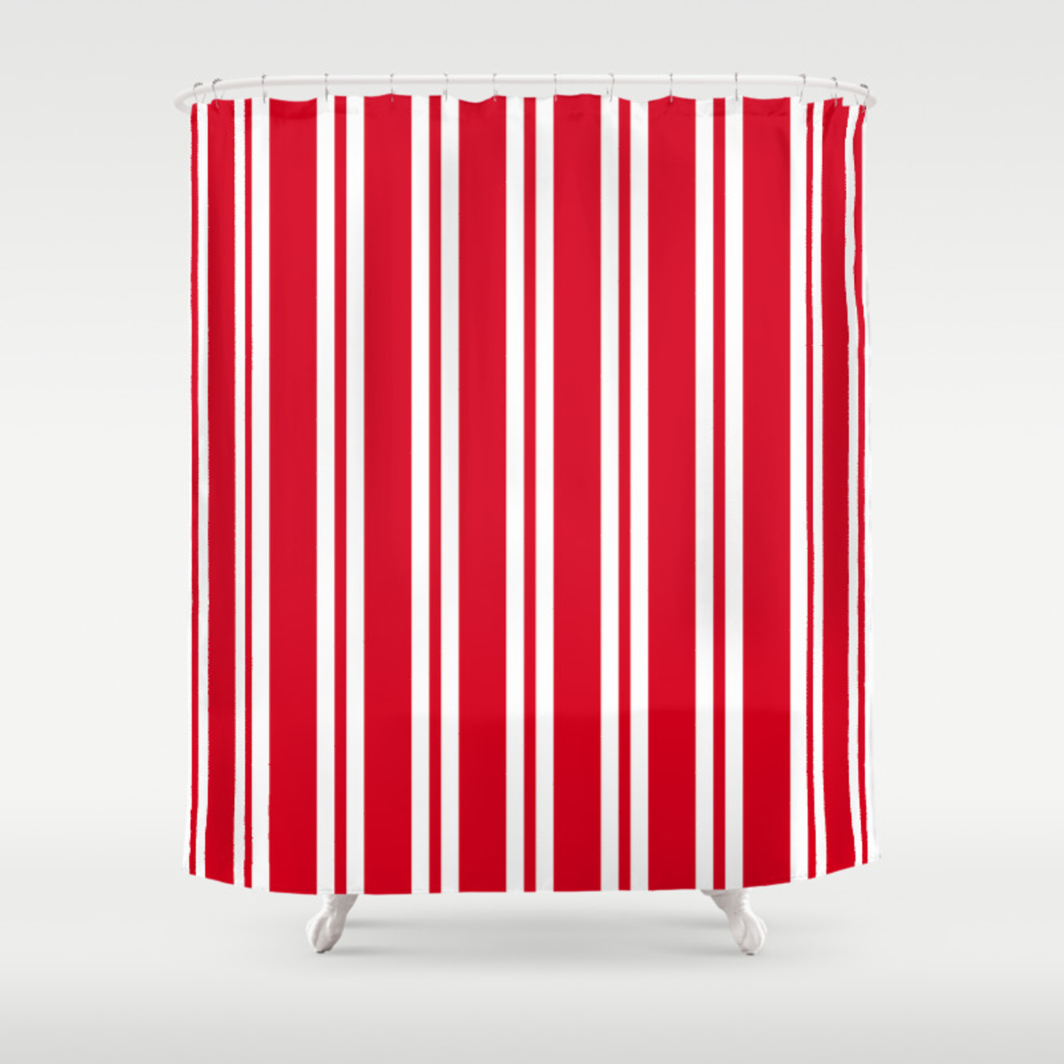 Red And White Wide Small Wide Stripes Shower Curtain