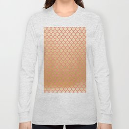 Elegant pink coral faux gold glitter vintage quatrefoil Long Sleeve T-shirt
