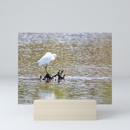 Small Egret Finds a Perch in the Pond by Reay of Light Mini Art Print