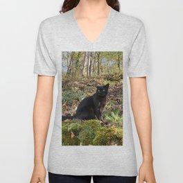 black cat in the forest Unisex V-Neck