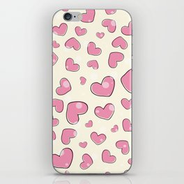 Little hearts in a yellow background iPhone Skin