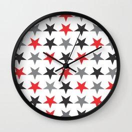 Black Grey Red Stars Wall Clock