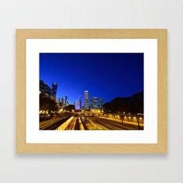 Silhouette Chicago skyline Framed Art Print