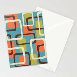 Mid Century Modern Overlapping Squares Pattern 141 Stationery Cards