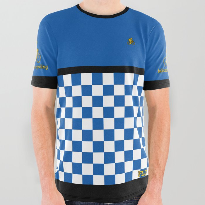 FLD Cycling Blue Checkered All Over Graphic Tee