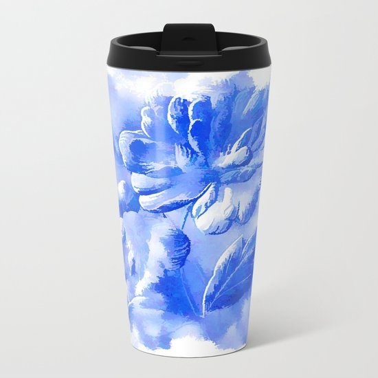Cyan Painterly Flower Abstract Metal Travel Mug