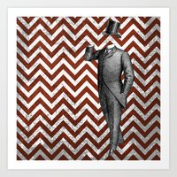 arsenal Art Prints featuring Gentleman's Arsenal - The Suit by Ashley Anonymous