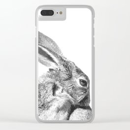 Black and white rabbit Clear iPhone Case