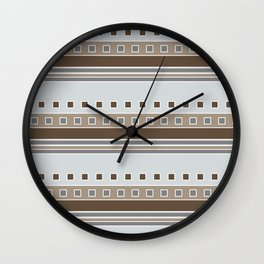 Squares and Stripes in Gray and Browns Wall Clock
