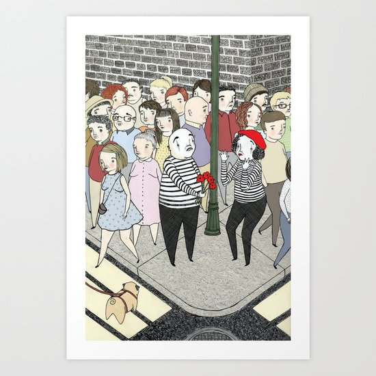 Romantic Mimes Art Print