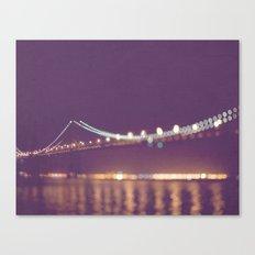 Let's go for a walk. San Francisco Bay bridge night photograph. Canvas Print