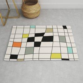 Mid Century Modern Warped Tiles Rug