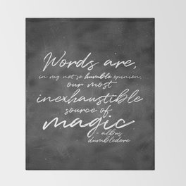 Words Are Magic (Dark) Throw Blanket
