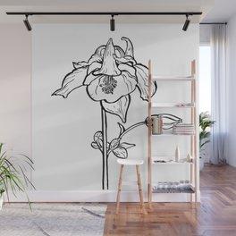 Garden Flower Ink Drawing  Wall Mural