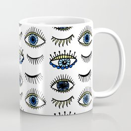 Evil Eyes Blue Yellow Lucky Charm Symbol Coffee Mug