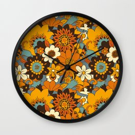70s Retro Flower Power 60s floral Pattern Orange yellow Blue Wall Clock