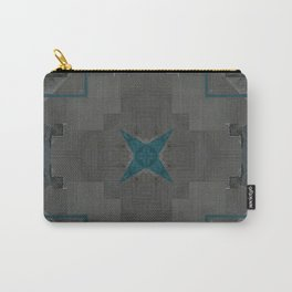 Decorative Grey Teal Stone Tile Pattern Carry-All Pouch