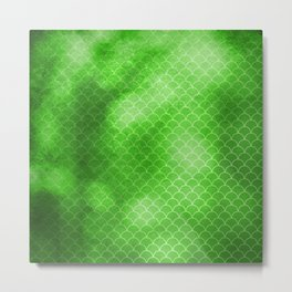 Green Flash small scallops pattern with texture Metal Print