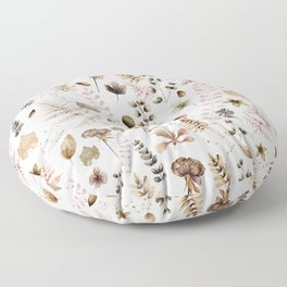 Herbarium white Floor Pillow