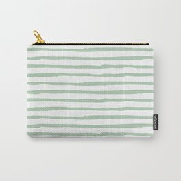 Elegant Stripes White and Pastel Cactus Green Carry-All Pouch