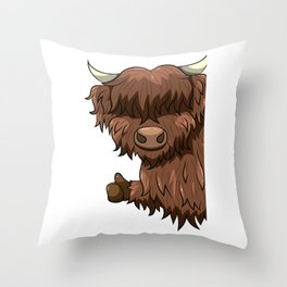 Thumbs Up Highland Cow Heilan Cattle Throw Pillow