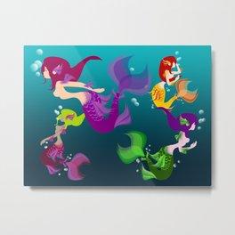 Festive Mermaids Metal Print