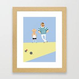 men bowling Framed Art Print