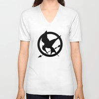 mockingjay V-neck T-shirts featuring The MockingJay  by Lauren Lee Design's