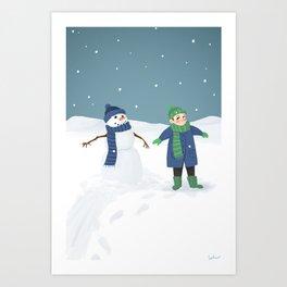 Snowman Twins Art Print