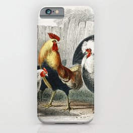 Game Cock Silver Spangled White Feathered Bantam Hen Dorking Hen Black Polish Hen Malay Cock and Hen iPhone Case