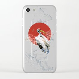 Cranes Japanese Kimono Clear iPhone Case