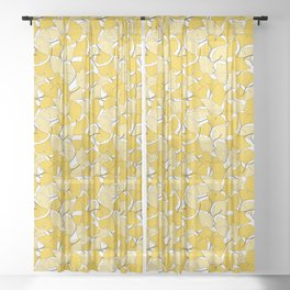 ginkgo leaves (yellow) Sheer Curtain