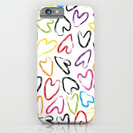 hearts doodle pattern iPhone Case