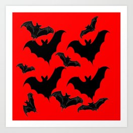 HALLOWEEN BATS ON BLOOD RED DESIGN Art Print