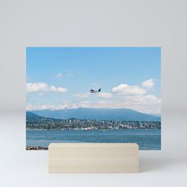 Plane taking off over Vancouver bay Mini Art Print