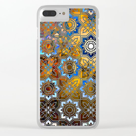 Blue and Gold Pattern Clear iPhone Case