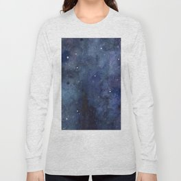 Galaxy Nebula Watercolor Night Sky Stars Outer Space Blue Texture Long Sleeve T-shirt