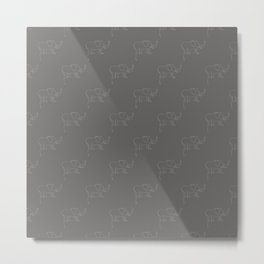 Line Elephant March (Grey) Metal Print
