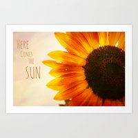 "Sunflower Power ""Here Comes the Sun"" Art Print"
